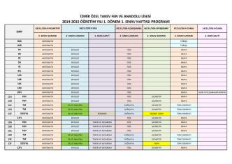2014-2015 öğretim yılı 1. dönem 1. sınav haftası programı izmir özel
