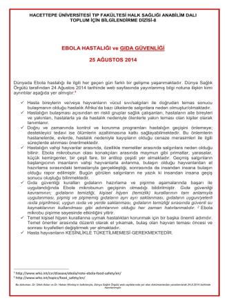 25 ağustos 2014 ebola hastalığı ve gıda güvenliği