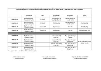 çukurova üniversitesi diş hekimliği fakültesi 2014/2015 eğitim