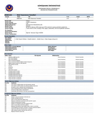 BISEC102 Web Tasarımının Temelleri