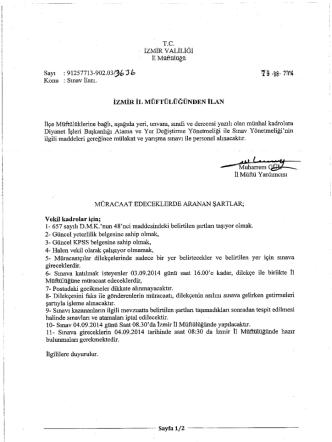 04.09.2014 Tarihinde Yapılacak Olan Vekil Sınav