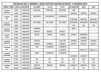 2013-2014 2.Dönem 2. Ortak Sınav Haftası Programı