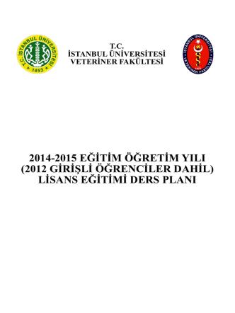 2012 Yılından İtibaren Ders Planı - İstanbul Üniversitesi | Veteriner