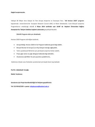 AB Horizon 2020 - Başkent Üniversitesi