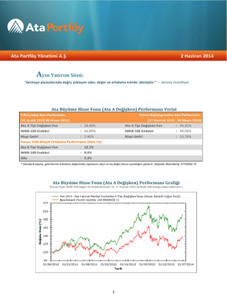Ata Portföy Yönetimi A.Ş 2 Haziran 2014 Ayın Yatırım