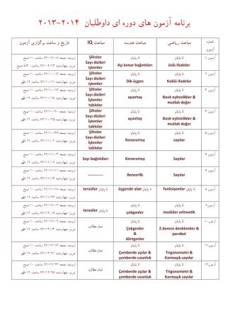 2013 - 2014 دوﺭه اي داوﻃﻠﺒﺎن ﺑﺮﻧﺎﻣﻪ آﺯﻣﻮن ﻫﺎي