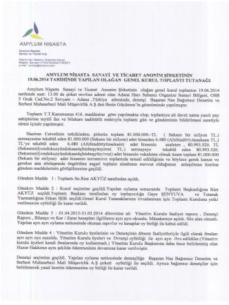 2014 Genel Kurul - Amylum Nişasta
