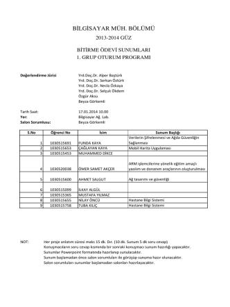 2013 güz bitirme sunum programı - Bilgisayar Mühendisliği Bölümü