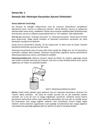 Deney No 1-Heterojen Karışımların Ayrılması