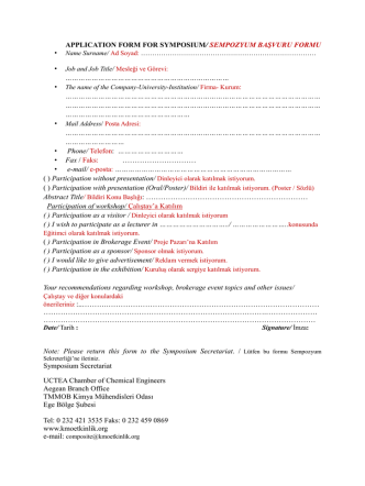 APPLICATION FORM FOR SYMPOSIUM