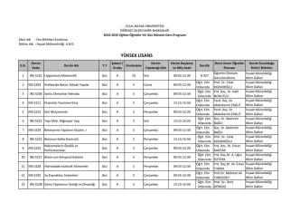 2014-2015 Eğitim Öğretin Yılı LİSANSÜSTÜ Ders Programı