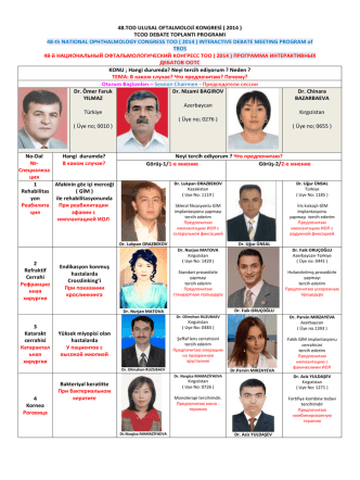 48.TOD ULUSAL OFTALMOLOJİ KONGRESİ ( 2014 ) TCOD