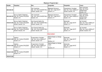 2014-2015 Güz Yarıyılı Ders Programı