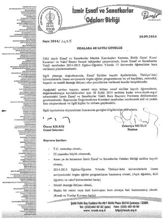 2014/48 - Burs Başvuru Formu - İzmir Esnaf ve Sanatkarlar Odaları