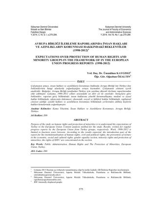 Avrupa Birliği İlerleme Raporlarında İnsan Hakları ve