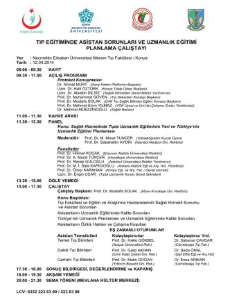 Çalıştay Programı - Necmettin Erbakan Üniversitesi