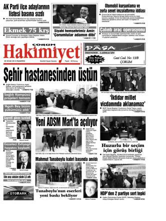 20 Ocak 2014 Pazartesi - Çorum Hakimiyet Gazetesi