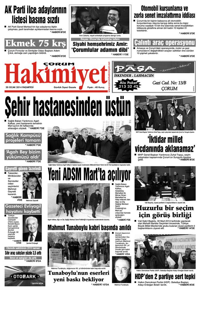 20 Ocak 2014 Pazartesi Corum Hakimiyet Gazetesi