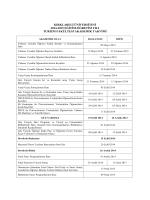 2014-2015 Eğitim-Öğretim Yılı Turizm Fakültesi Akademik Takvimi