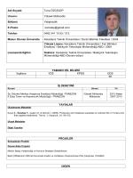 Adı Soyadı: Tuna ÖZCELEP Unvanı: Yüksek Mühendis Bölümü