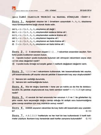 BM516 ˙ILER˙I OLASILIK TEOR˙IS˙I ve RASSAL SÜREÇLER -ÖDEV-I