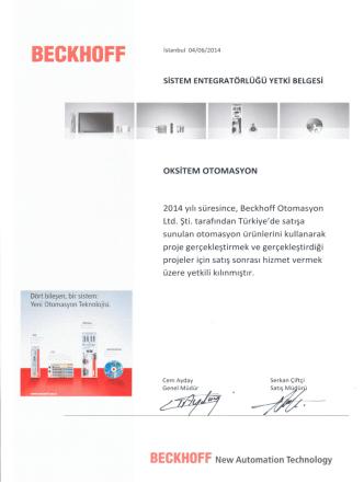 Beckhoff Yetkili Sistem Entegratörü ve Satıcı Belgesi