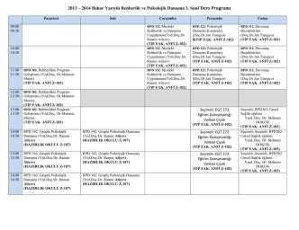 2013 – 2014 Bahar Yarıyılı Rehberlik ve Psikolojik Danışma 3. Sınıf