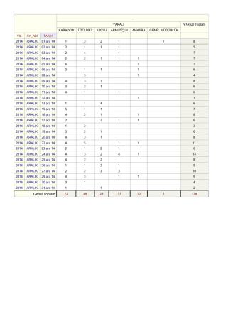 Aylık Kaza Sayıları