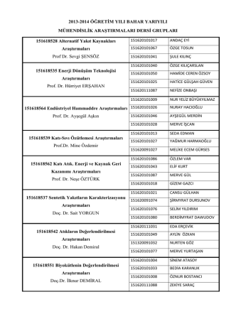 2013-2014 Öğretim Yılı Bahar Yarıyılı Mühendislik Araştırmaları