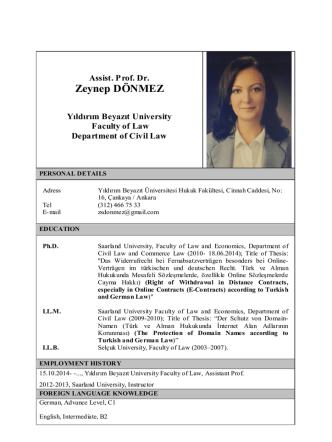 Assist. Prof. Dr. Zeynep DÖNMEZ - Yıldırım Beyazıt Üniversitesi