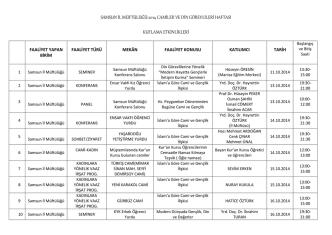 2014 yılı camiler ve din görevlileri haftası etkinlikleri listesi
