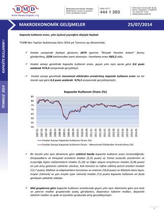 2011 ıv. çeyrek strateji raporu makroekonomik gelişmeler 25/07/2014