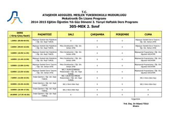 305-MEK 2. Sınıf - Ataşehir Adıgüzel Meslek Yüksekokulu