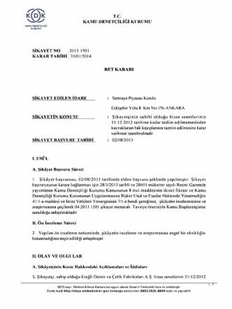 2013.1501 karar tarihi 31/01/2014 ret kararı şikayet edilen idare