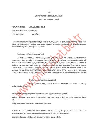 2014 yılı ağustos ayı meclis karar özeti