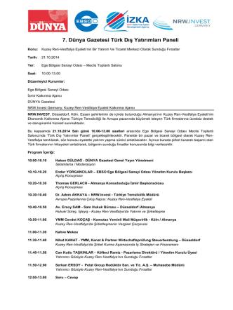 7. Dünya Gazetesi Türk Dış Yatırımları Paneli