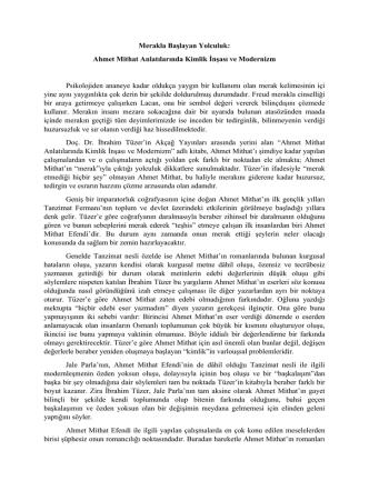 Ahmet Mithat Anlatılarında Kimlik İnşası ve Modernizm