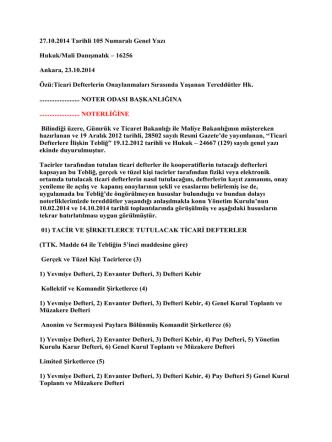 27.10.2014 Tarihli 105 Numaralı Genel Yazı Hukuk/Mali Danışmalık
