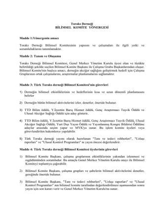 Bilimsel Komite Yönergesi