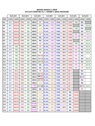 2014-2015 öğretim yılı 1. dönem 3. sınav programı