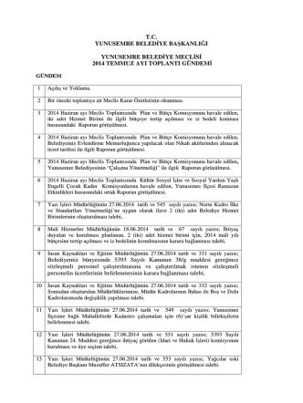 2014 Temmuz Ayı Meclis Gündemi