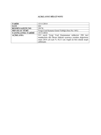 AÇIKLAYICI BİLGİ NOTU TARİH 15/11/2014 SAYI 441 RESMİ