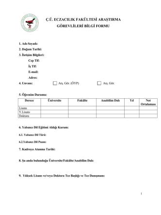 ç.ü. eczacılık fakültesi araştırma görevlileri bilgi formu