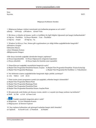 Bilgisayar kullanımı modülü soruları