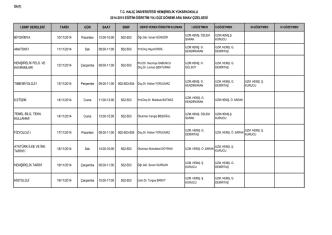 2014-2015 Güz Yarıyılı Vize Sınav Programı