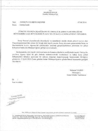 başbakanlek - Türkiye Sigorta Reasürans ve Emeklilik Şirketleri Birliği