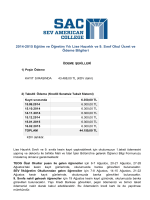 2014-2015 Eğitim ve Öğretim Yılı Lise Hazırlık ve 9. Sınıf Okul Ücret