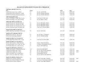 2014-2015 güz dönemi bütünleme sınav programı