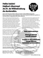 Heiko kalsin! Mejburi cikarmayi 26.01. de Wilhelmsburg da durduralim.