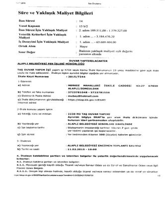 Alaplı Belediye Başkanlığı Taş Duvar Yapımı İhalesi (11.02.2015)